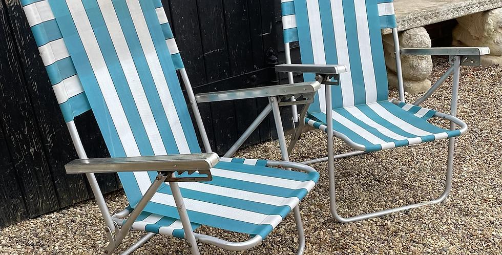 Pair Of Vintage Retro Blue Stripe Folding Deck Chairs / Garden Chairs