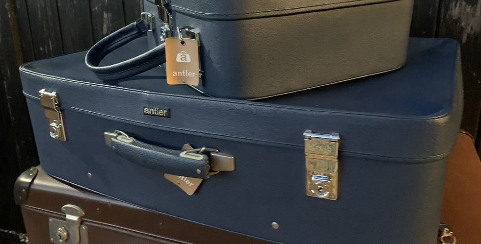 Stack Of 2 Lovely Vintage Blue Leather Antler Suitcase & Vanity Case With Key