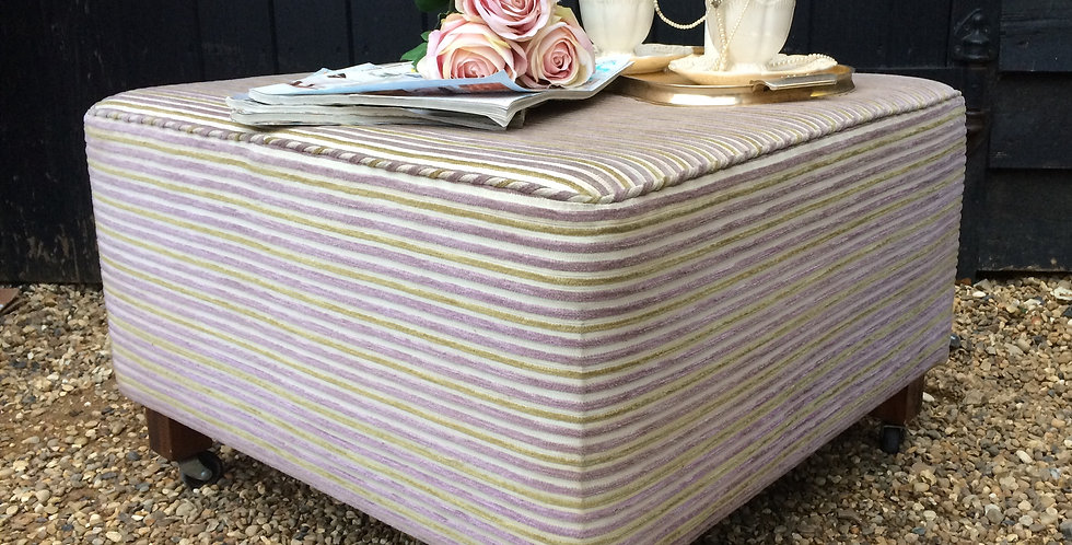 Upholstered Square Pastel Stripe Footstool