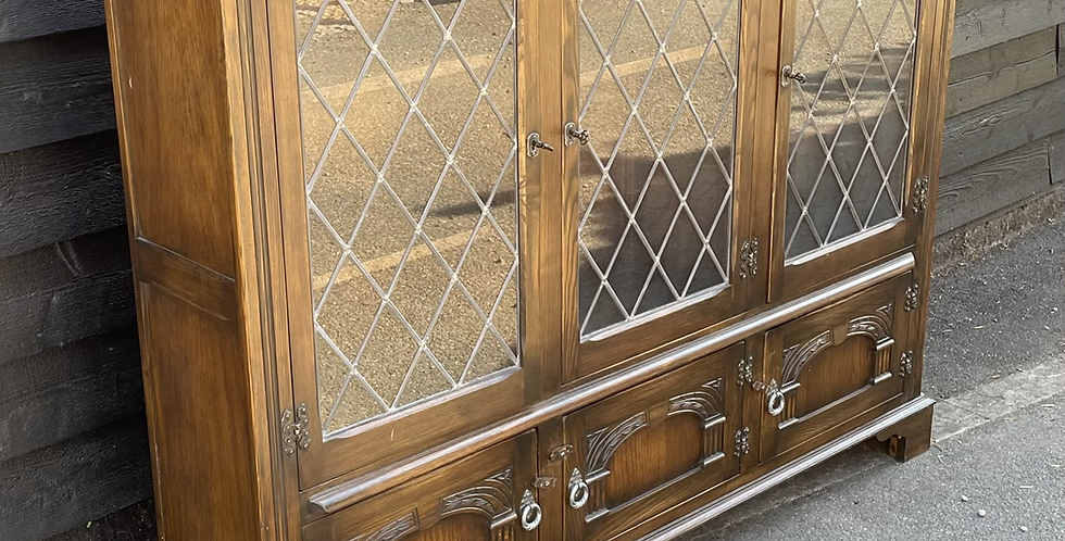 Good Quality Bevan Funnell Reprodux Large Glazed Bookcase Display Cabinet