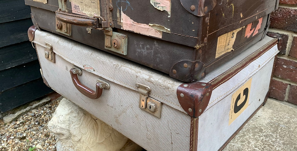 Stack Of Two Large Vintage Suitcases