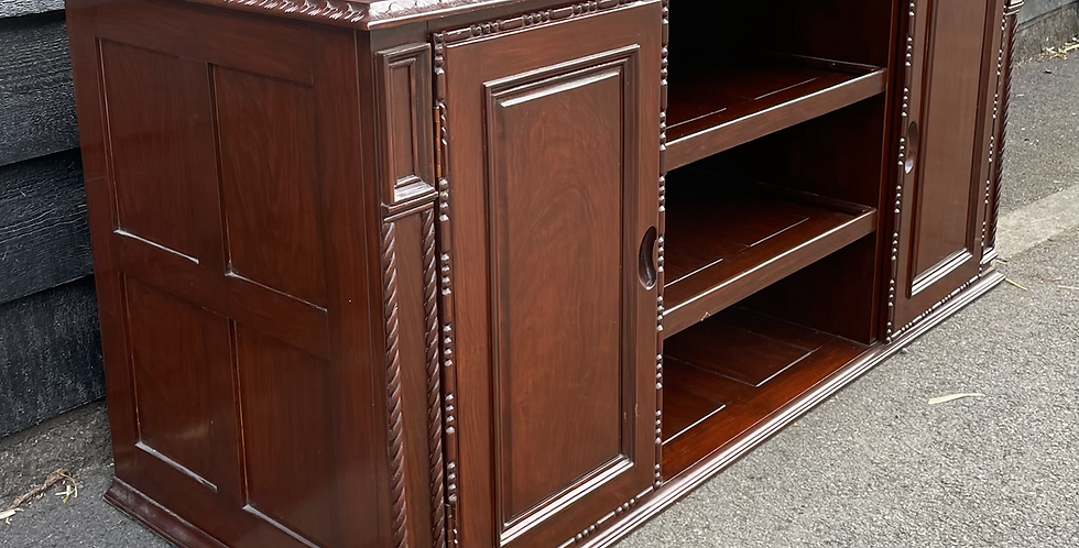 Oriental Style TV Media Stand With Cupboards & Shelves