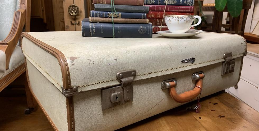 Vintage Cream Vanguard Luggage Suitcase, Decorators Piece Or Wedding Postbox