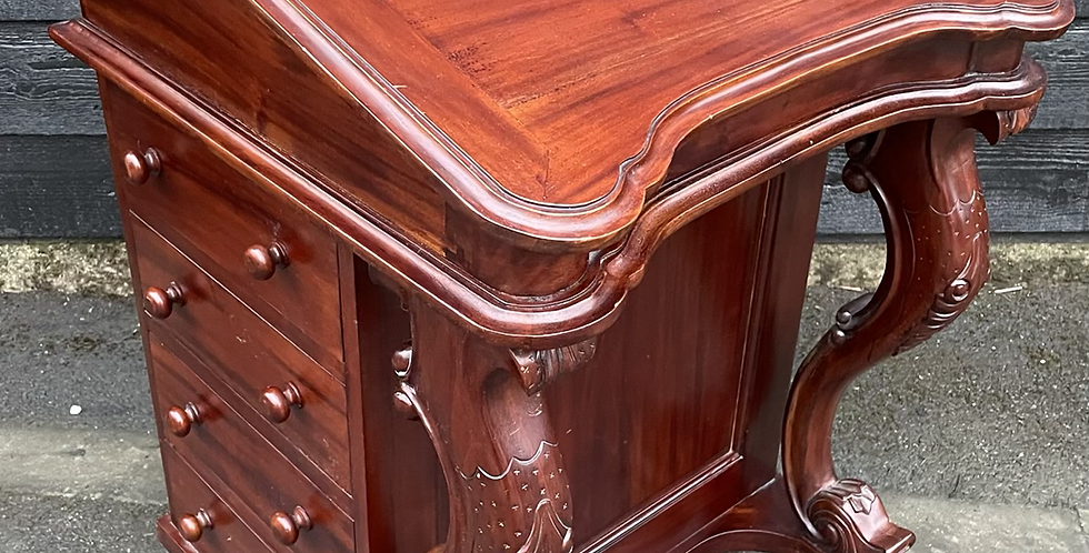 Traditional Victorian Style Hardwood Slopefront Davenport Writing Desk