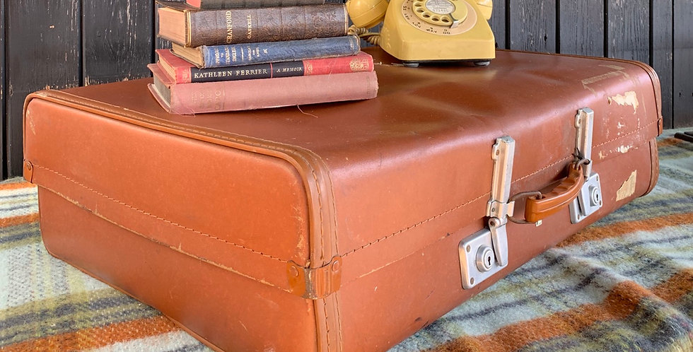 Large Vintage Tan Brown Revelation Luggage Suitcase