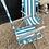 Thumbnail: Pair Of Vintage Retro Blue Stripe Folding Deck Chairs / Garden Chairs