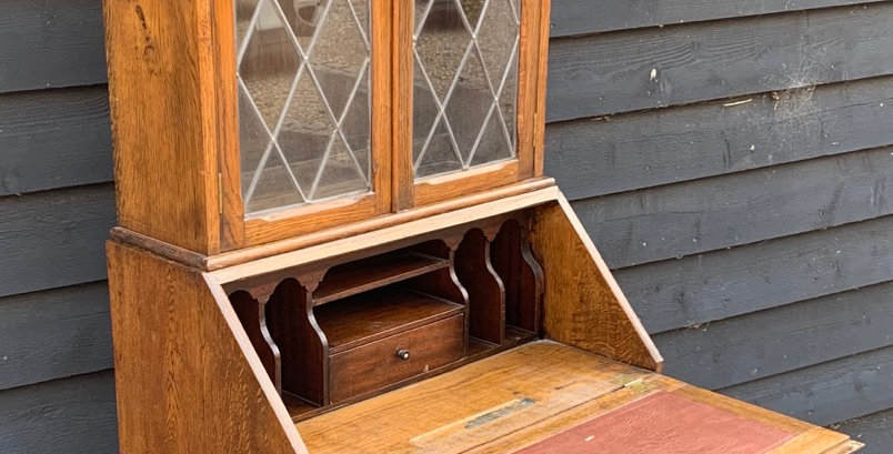 1930's Oak & Veneer Bureau Bookcase