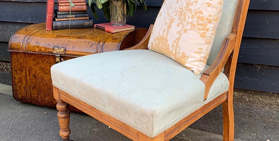 Edwardian Satin Walnut Nursing Chair With Green Floral Flock Upholstery