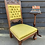Thumbnail: Low Carved Oak Victorian Nursing Chair With Green Button Back Upholstery