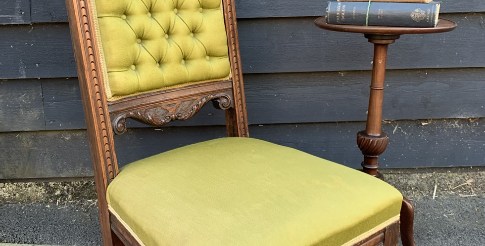 Low Carved Oak Victorian Nursing Chair With Green Button Back Upholstery