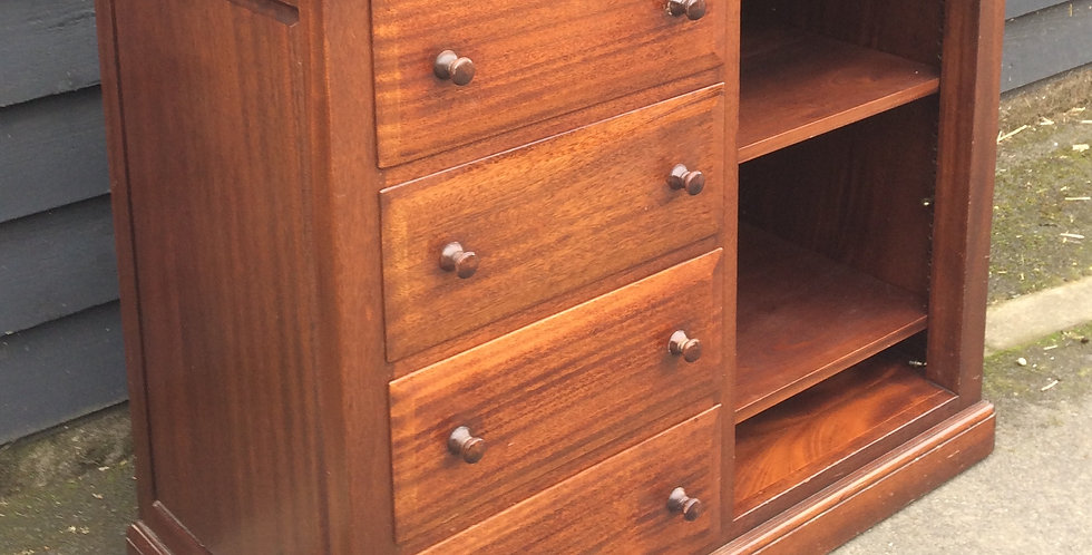 Contemporary Mahogany Cabinet With Drawers & Shelves