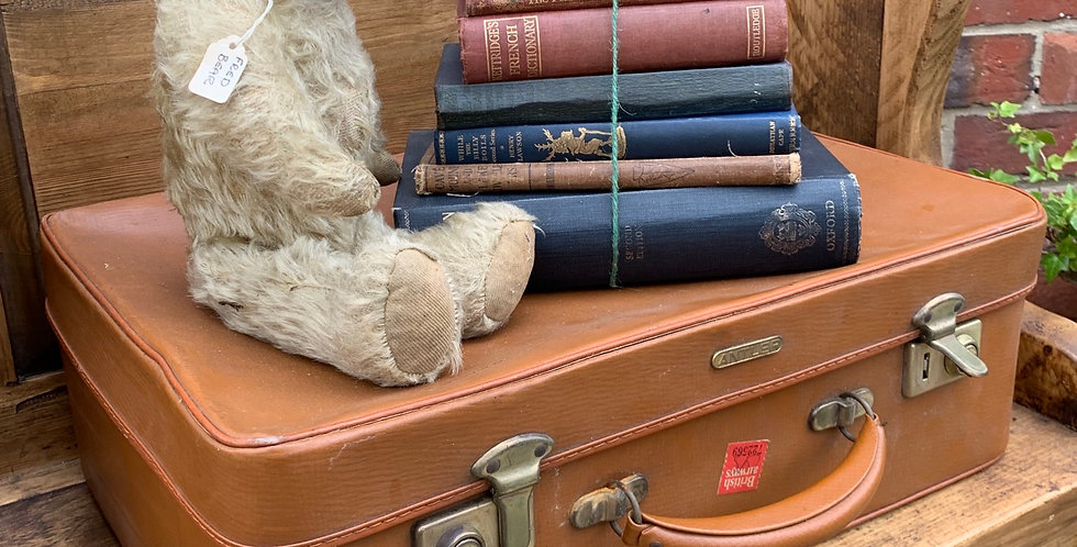 Small Vintage Tan Brown Antler Suitcase