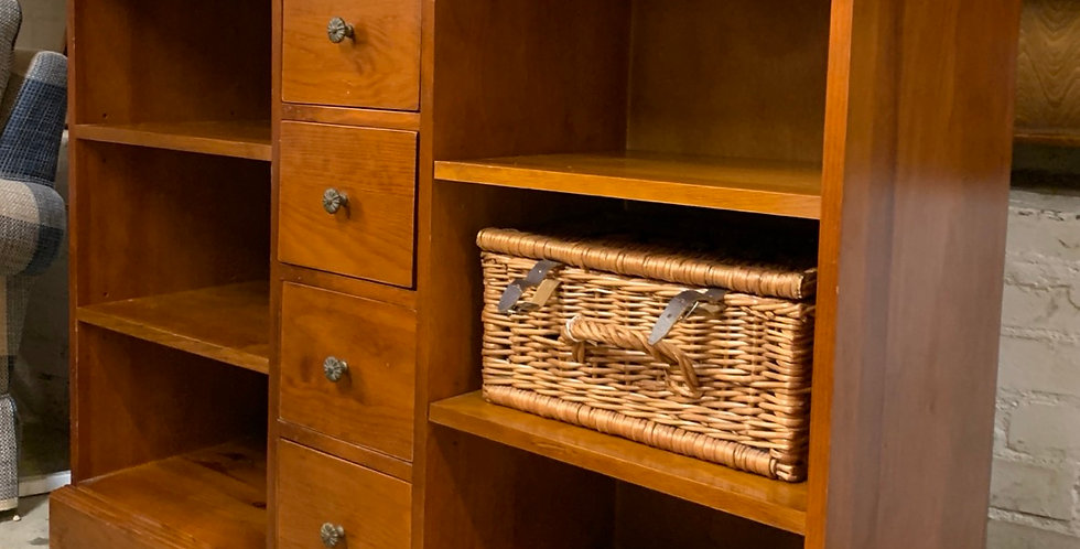 Modern Stained Pine Bookcase Sideboard With Drawers