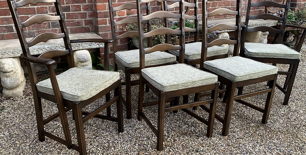 Set Of Six 1970's Ercol Old Colonial Ladderback Dining Chairs & Carver Armchairs