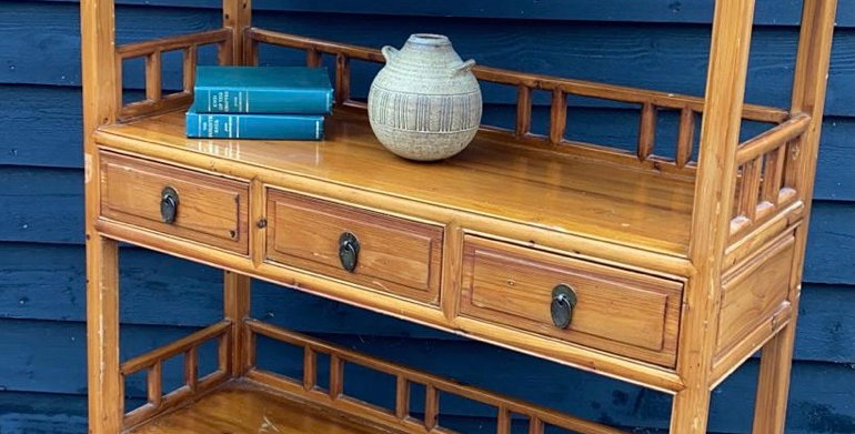 Stained Pine Bamboo Effect Chinese Display Bookcase With Drawers