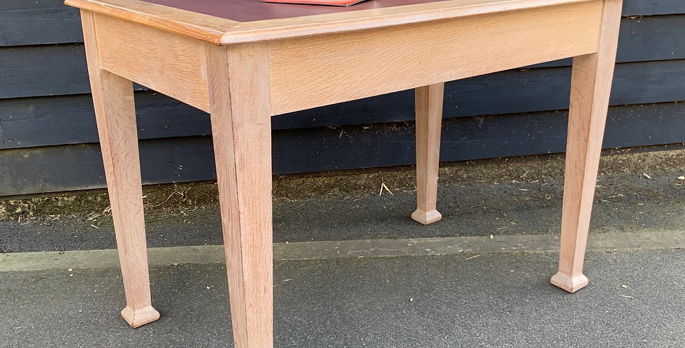 Limed Oak Writing Table Desk With Inset Rexine Leather Top