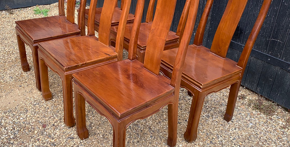 Set Of Six Oriental Hardwood Dining Chairs
