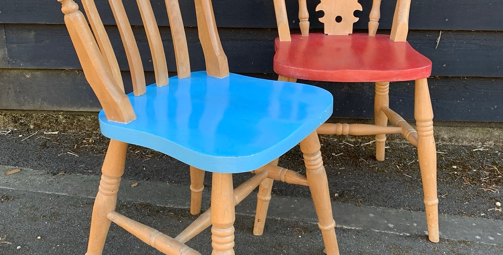 Two Part Painted Farmhouse Style Kitchen Chairs