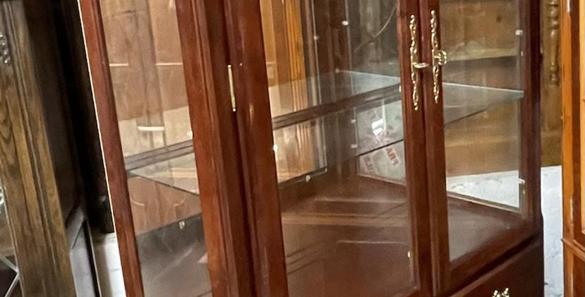 Hardwood Glazed Display Cabinet With Drawers