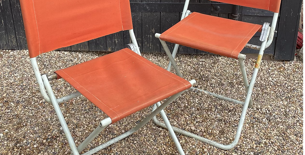 Pair Of Vintage Retro Orange Canvas Folding Deck Chairs / Garden Camping Chairs