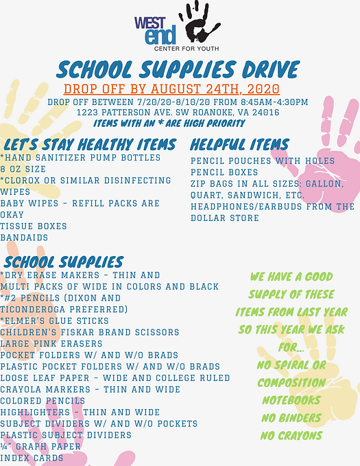 Back to School Supply Drive 2020 Flyer P
