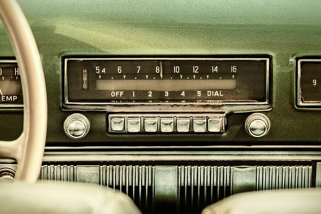 Retro styled image of an old car radio i