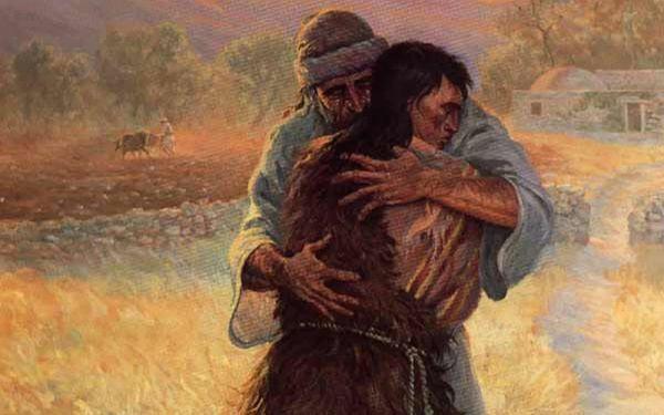 A imagem mostra um pai abraçando seu filho. Ela representa o texto bíblico do Filho Pródigo.