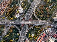 Luftbild von einer Straße