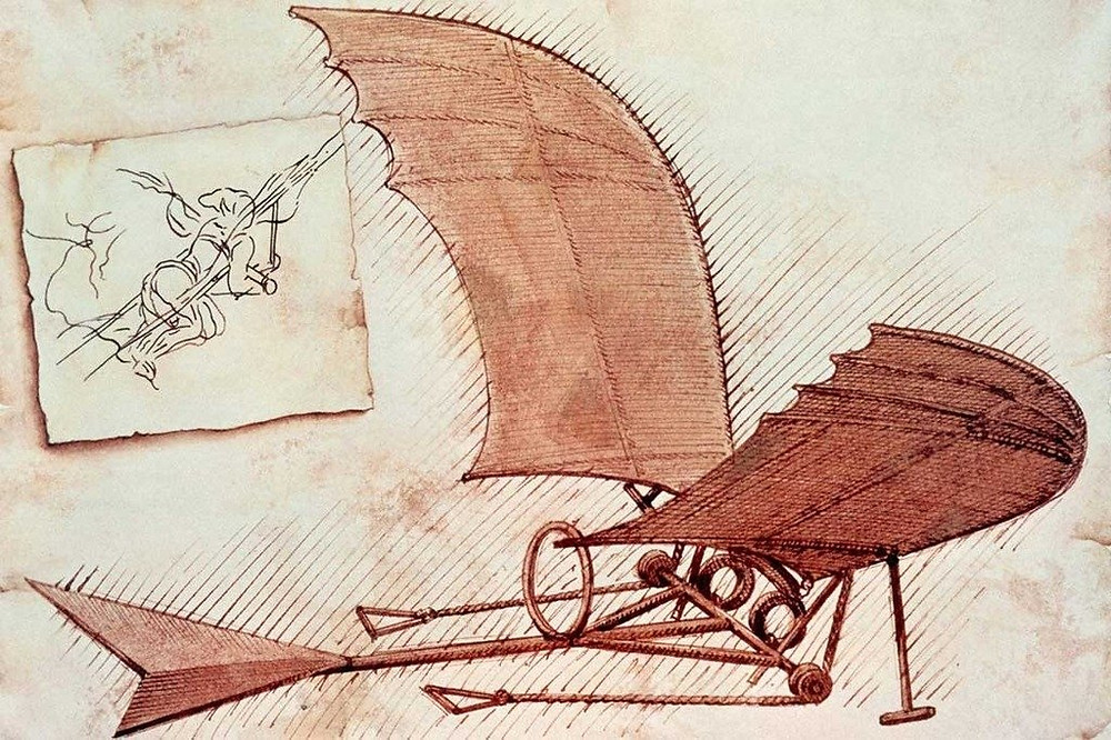 Leonardo da Vinci's painting/drawing of his invention, the flying machine
