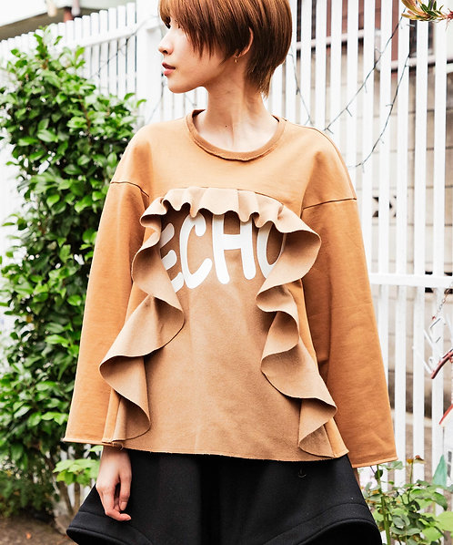 Frill switching A-line print pullover