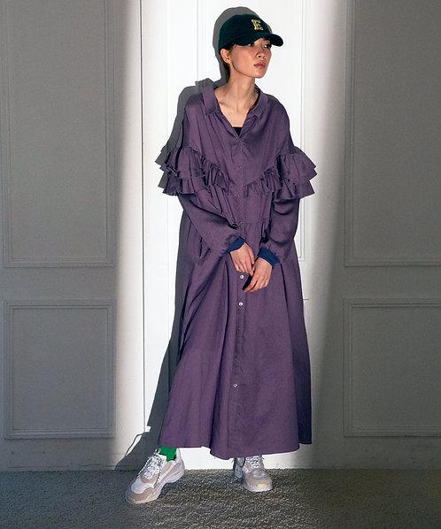 Ruffle frill switching dress