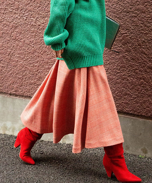 Hounds-tooth check tuck skirt