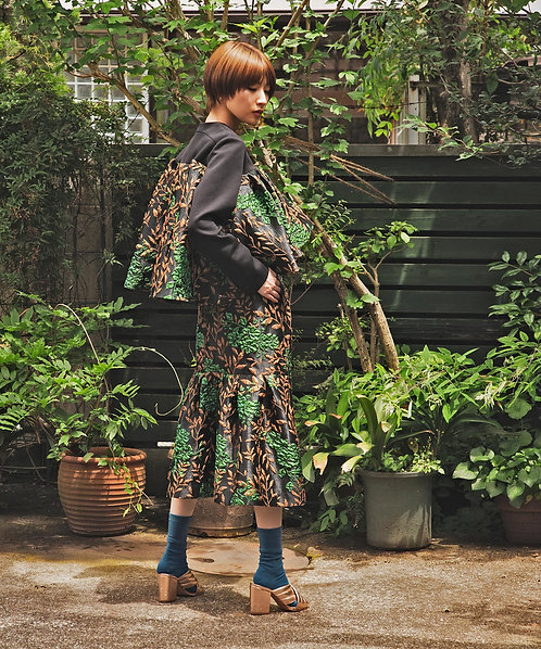 Import flower jacquard skirt