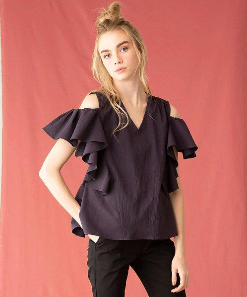 Off-shoulder flare blouse