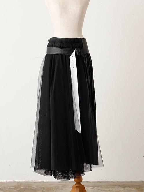 Light leather Side Pleated Tulle Skirt