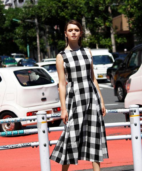 Gingham check A-line maxi dress