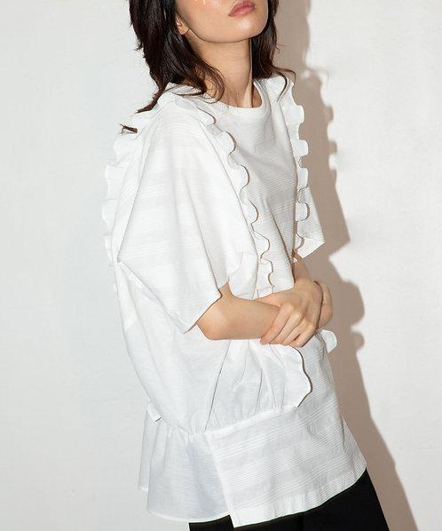 Sheer border frill blouse