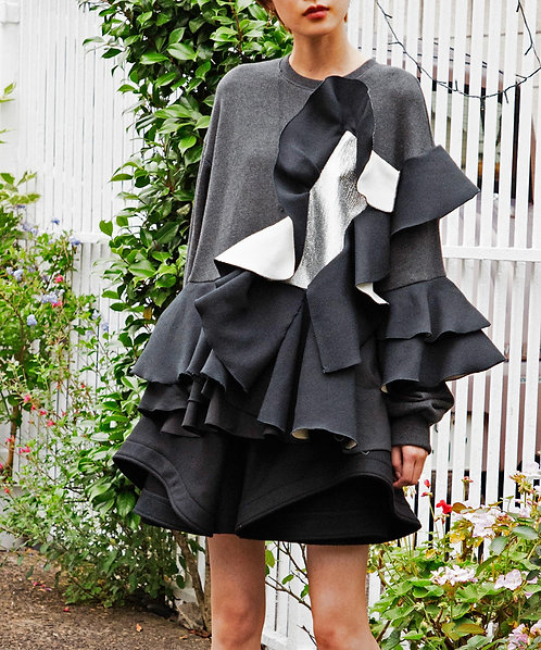 Import bonding ruffle frill switching pullover