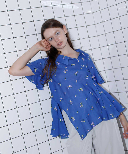Embroidered asymmetry flared blouse