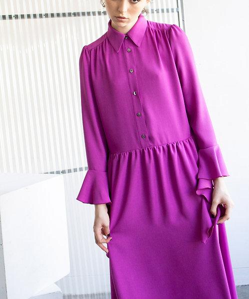 Double cross ruffle sleeve dress