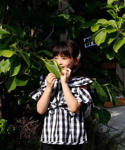 【AVIE KIDS】Gingham check ruffle blouse