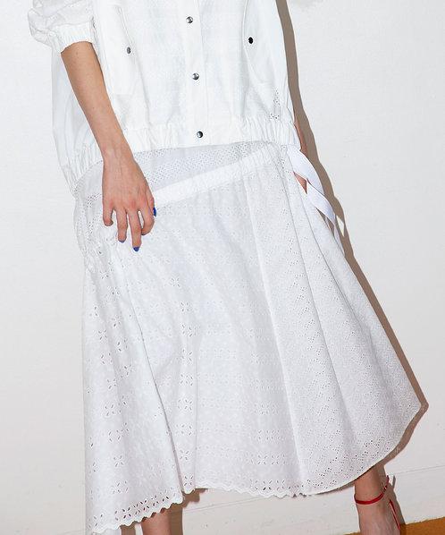 Race mix frill long skirt