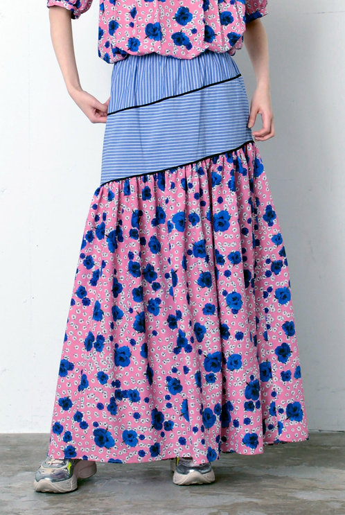 Imported flower print Stripe switching skirt