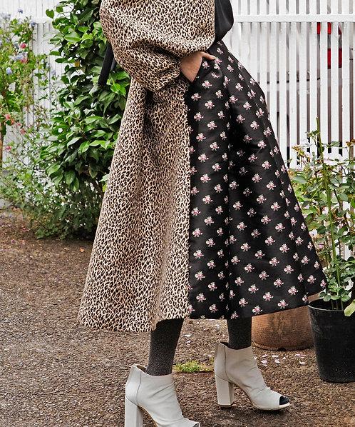 Import flower × leopard jacquard skirt