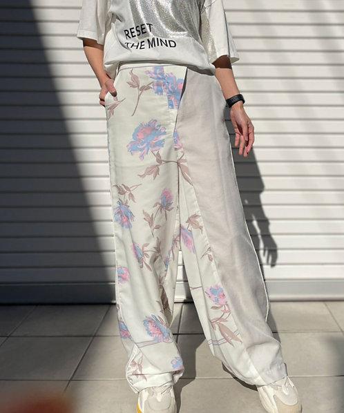 Flower print wide pants