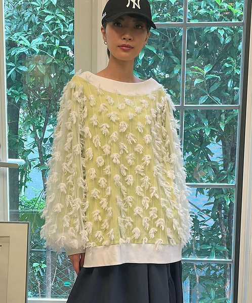 Import cut jacquard switching balloon sleeve pullover