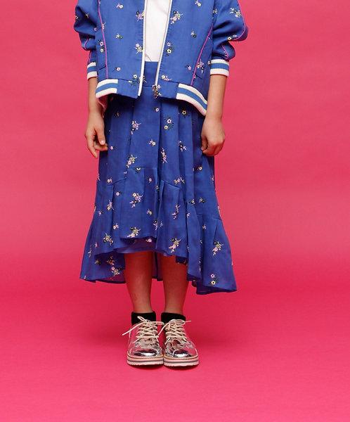 【AVIE KIDS】Embroidered tuck flared mi-mollet skirt