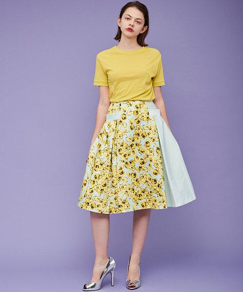 Flower pattern compact tuck skirt