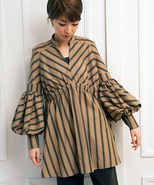 Striped volume sleeve blouse