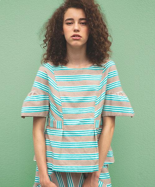 Import boreder frill blouse
